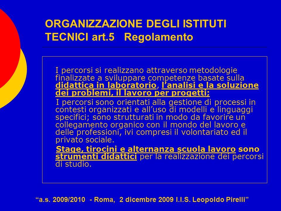 ORGANIZZAZIONE DEGLI ISTITUTI TECNICI art.5 Regolamento I percorsi si realizzano attraverso metodologie finalizzate a sviluppare competenze basate sul