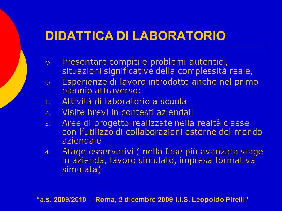 DIDATTICA DI LABORATORIO Presentare compiti e problemi autentici, situazioni significative della complessità reale, Esperienze di lavoro introdotte an