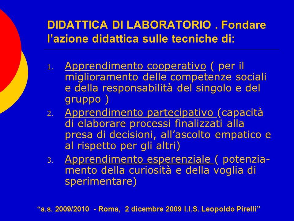 DIDATTICA DI LABORATORIO. Fondare lazione didattica sulle tecniche di: 1. Apprendimento cooperativo ( per il miglioramento delle competenze sociali e