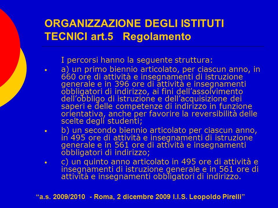 ORGANIZZAZIONE DEGLI ISTITUTI TECNICI art.5 Regolamento I percorsi hanno la seguente struttura: a) un primo biennio articolato, per ciascun anno, in 6