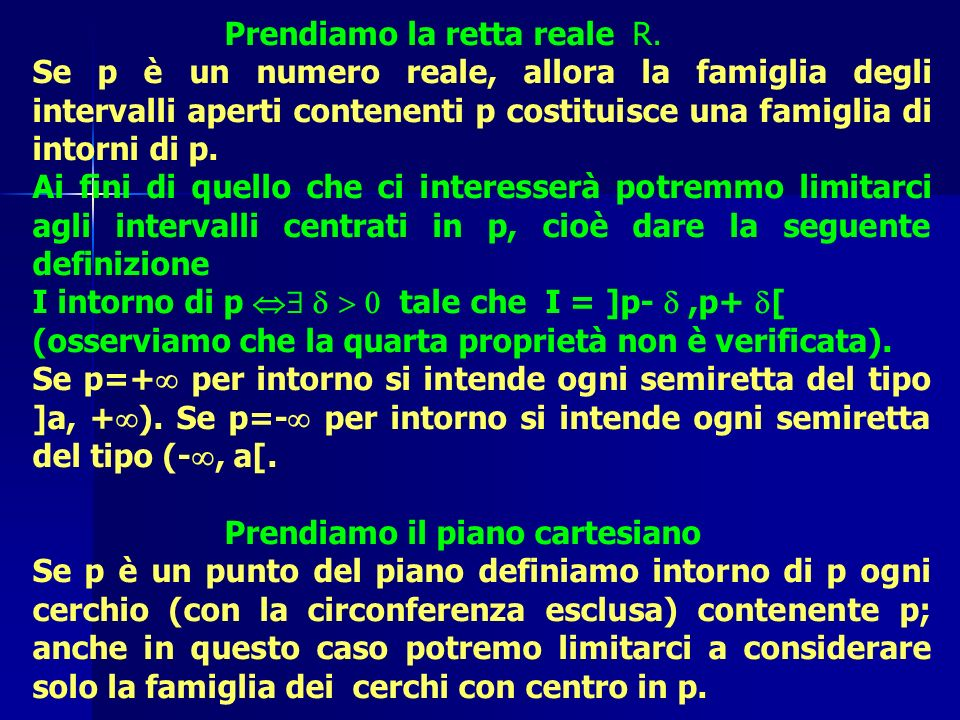 Prendiamo la retta reale R. Se p è un numero reale, allora la famiglia degli intervalli aperti contenenti p costituisce una famiglia di intorni di p.