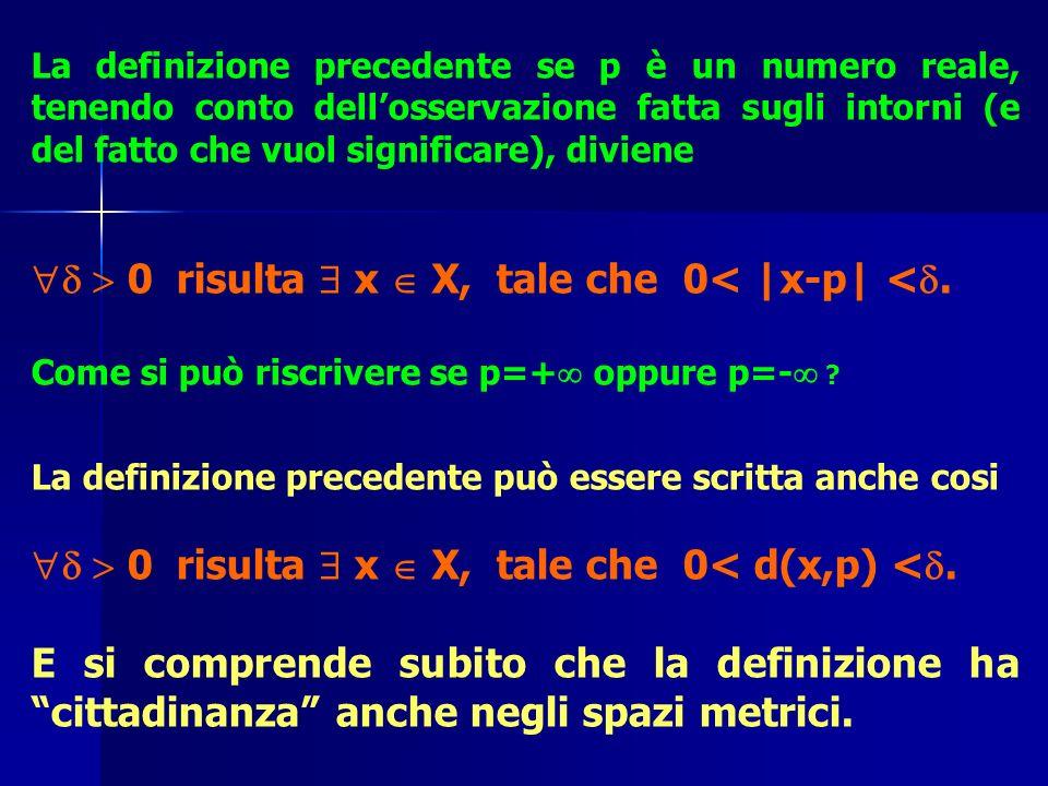 La definizione precedente se p è un numero reale, tenendo conto dellosservazione fatta sugli intorni (e del fatto che vuol significare), diviene 0 ris
