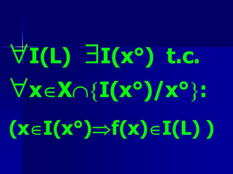 I(L) I(x°) t.c. x X I(x°)/x° : (x I(x°) f(x) I(L) )