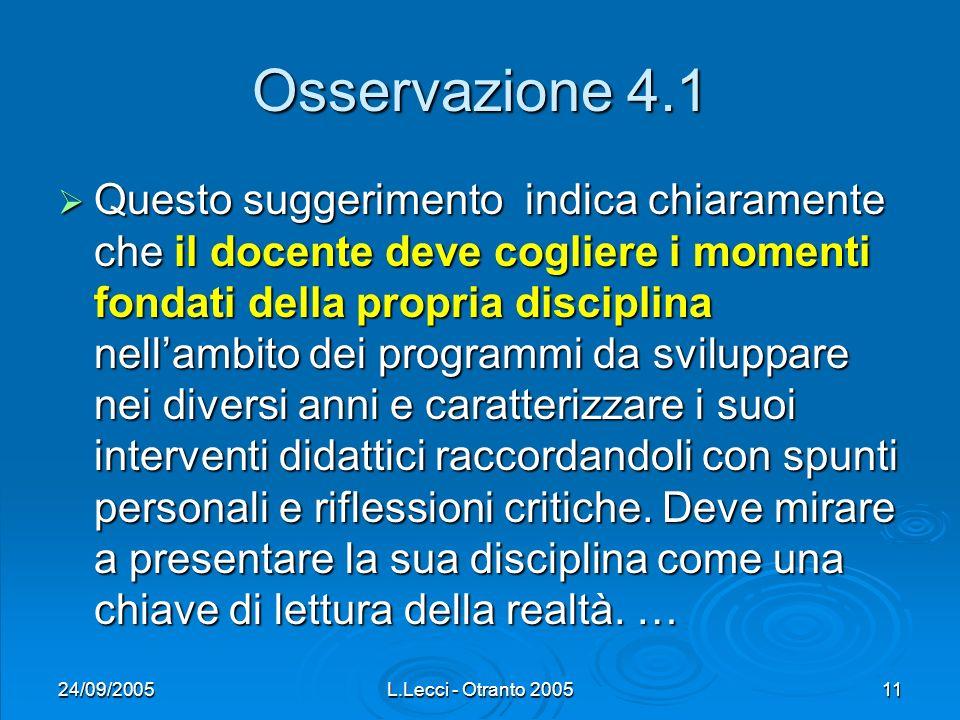 24/09/2005L.Lecci - Otranto 200511 Osservazione 4.1 Questo suggerimento indica chiaramente che il docente deve cogliere i momenti fondati della propri