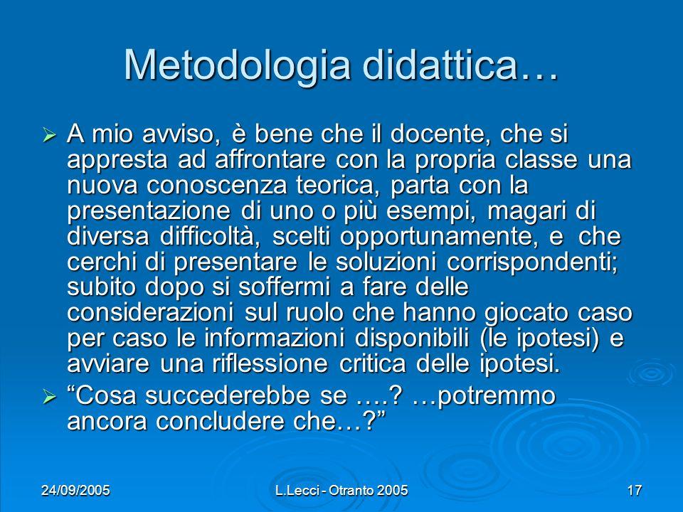 24/09/2005L.Lecci - Otranto 200517 Metodologia didattica… A mio avviso, è bene che il docente, che si appresta ad affrontare con la propria classe una