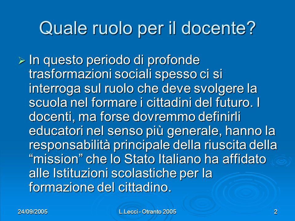 24/09/2005L.Lecci - Otranto 20052 Quale ruolo per il docente? In questo periodo di profonde trasformazioni sociali spesso ci si interroga sul ruolo ch