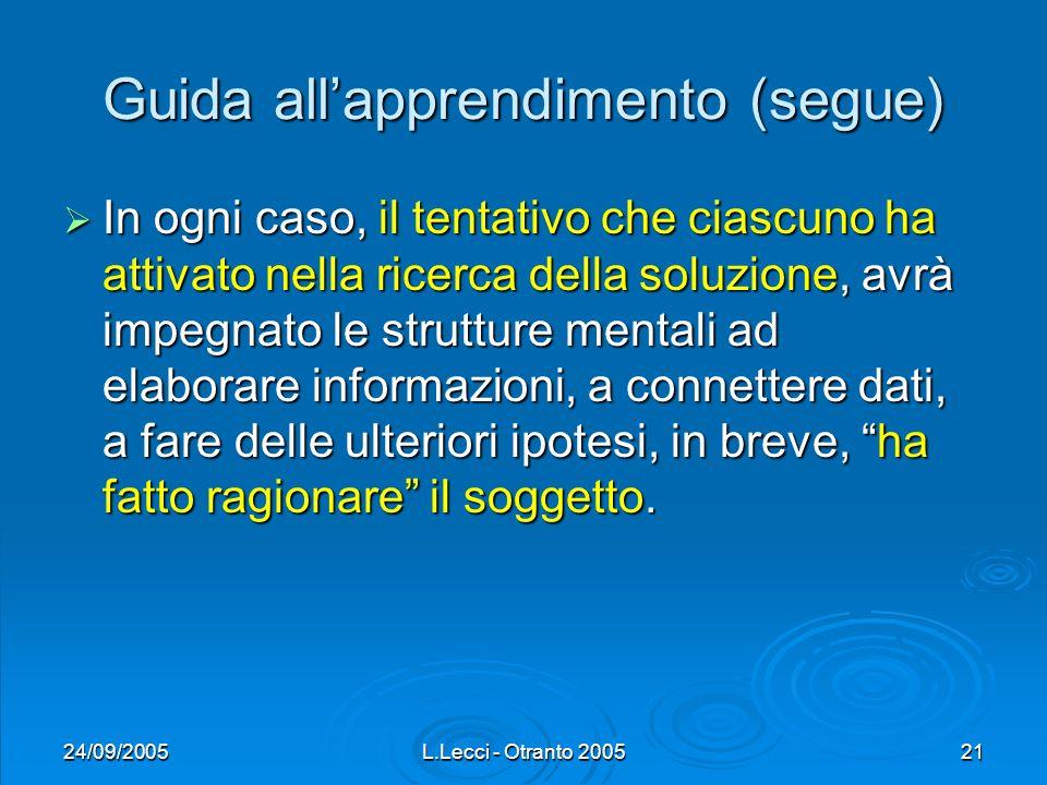 24/09/2005L.Lecci - Otranto 200521 Guida allapprendimento (segue) In ogni caso, il tentativo che ciascuno ha attivato nella ricerca della soluzione, a