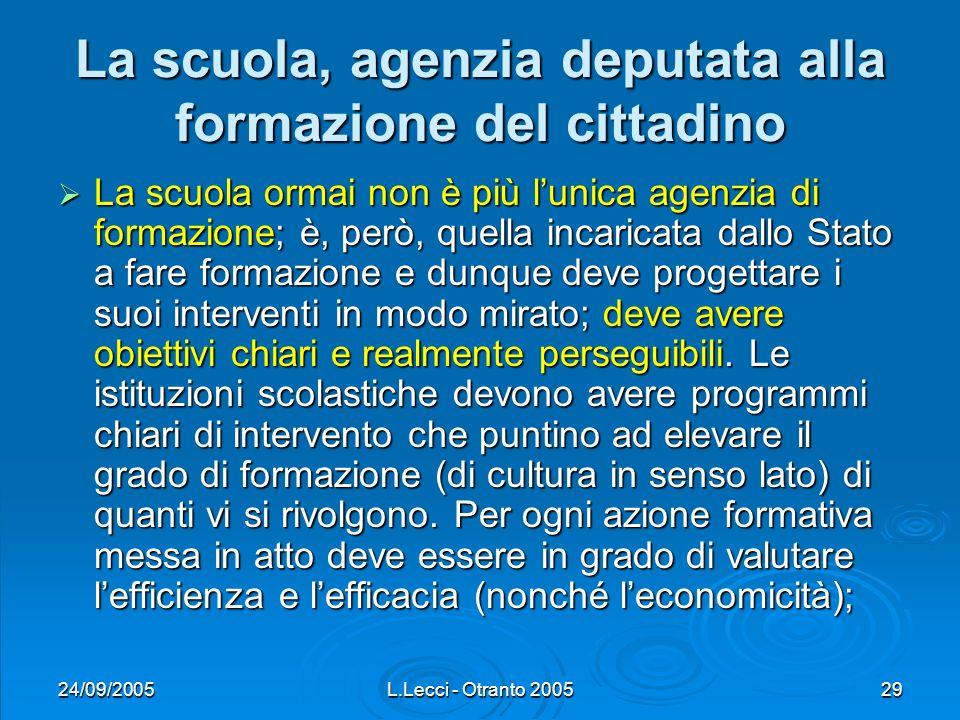 24/09/2005L.Lecci - Otranto 200529 La scuola, agenzia deputata alla formazione del cittadino La scuola ormai non è più lunica agenzia di formazione; è