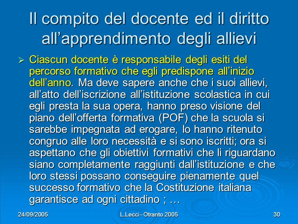 24/09/2005L.Lecci - Otranto 200530 Il compito del docente ed il diritto allapprendimento degli allievi Ciascun docente è responsabile degli esiti del