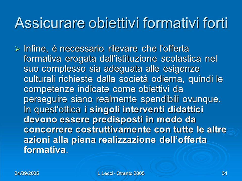 24/09/2005L.Lecci - Otranto 200531 Assicurare obiettivi formativi forti Infine, è necessario rilevare che lofferta formativa erogata dallistituzione s