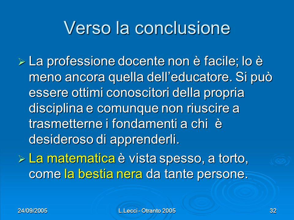24/09/2005L.Lecci - Otranto 200532 Verso la conclusione La professione docente non è facile; lo è meno ancora quella delleducatore. Si può essere otti