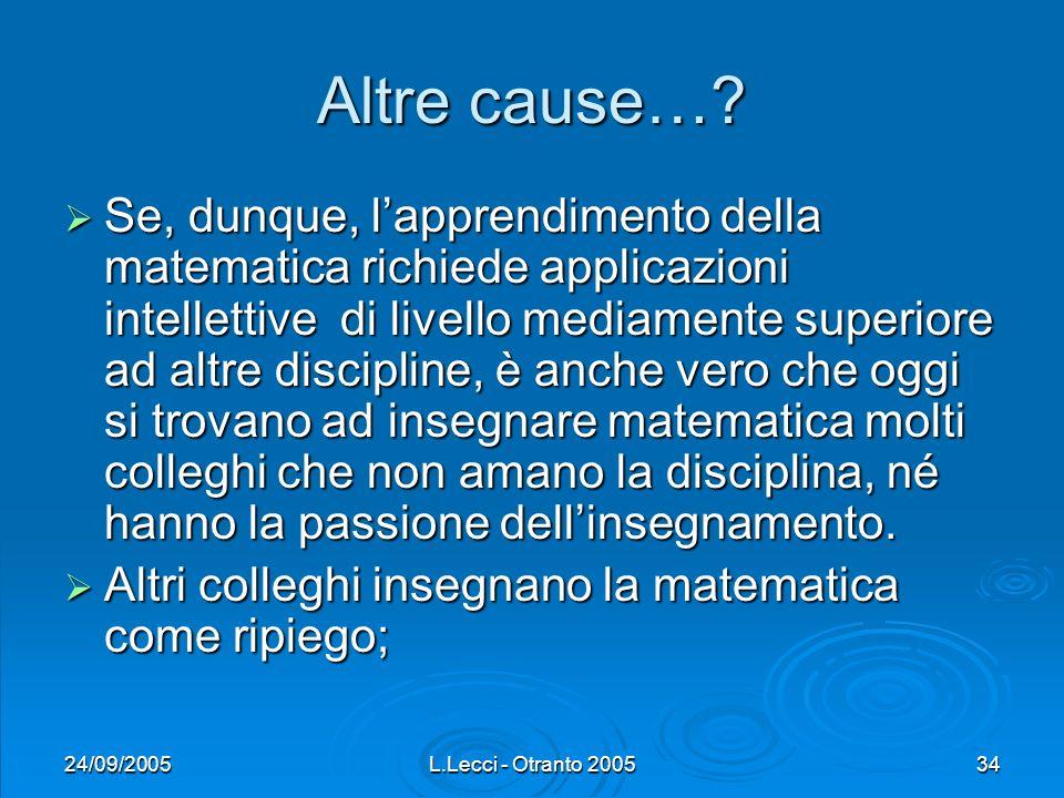 24/09/2005L.Lecci - Otranto 200534 Altre cause…? Se, dunque, lapprendimento della matematica richiede applicazioni intellettive di livello mediamente