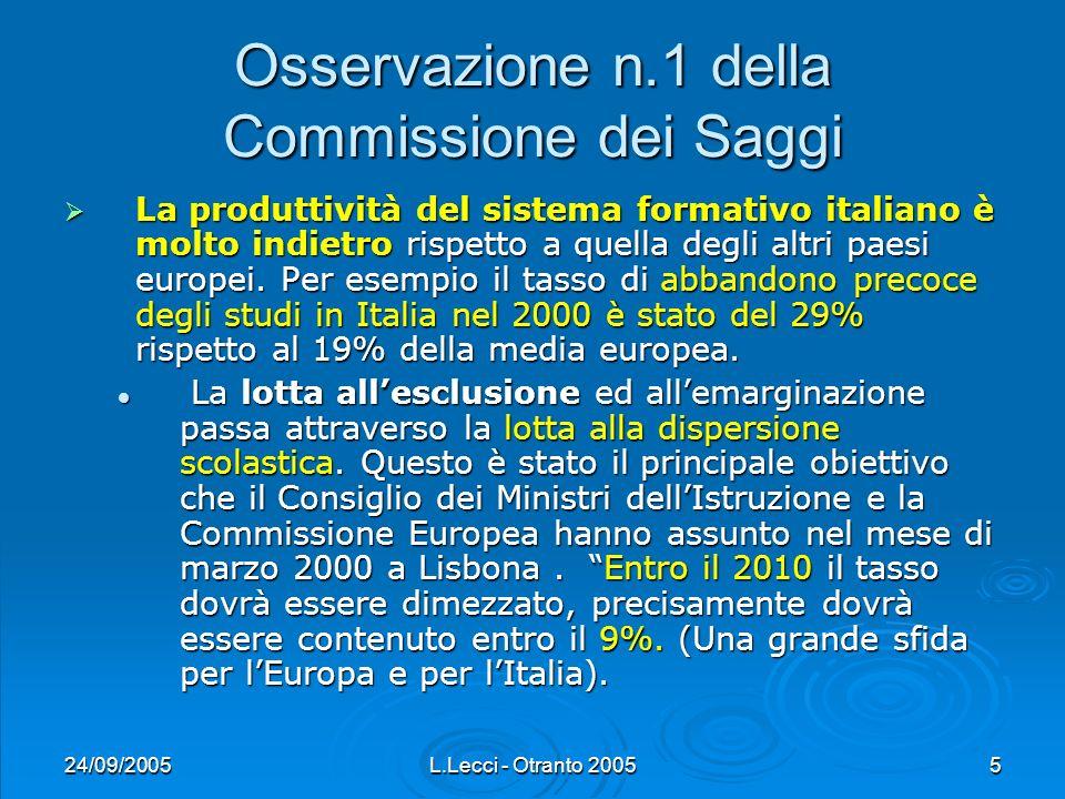 24/09/2005L.Lecci - Otranto 20056 Osservazione n.2 della Commissione dei Saggi La scuola è chiamata a saper anticipare le domande, i bisogni, i vincoli di un futuro possibile.