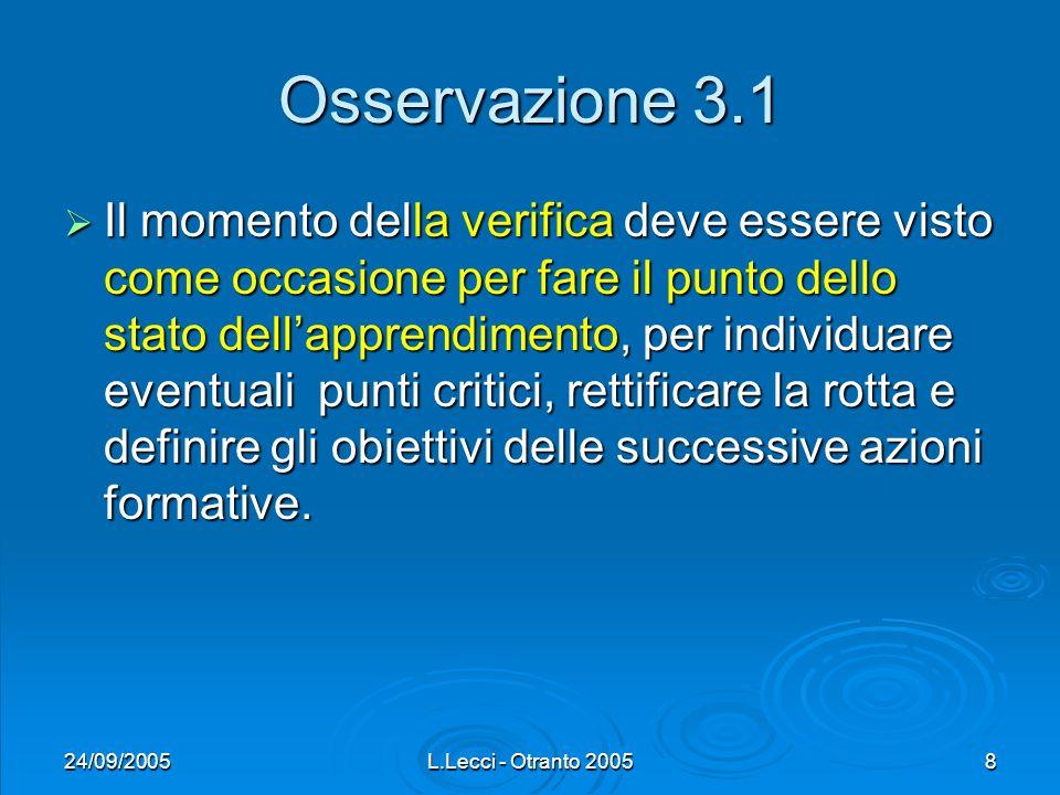24/09/2005L.Lecci - Otranto 20058 Osservazione 3.1 Il momento della verifica deve essere visto come occasione per fare il punto dello stato dellappren