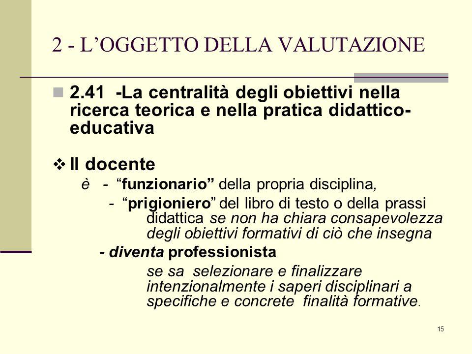 15 2 - LOGGETTO DELLA VALUTAZIONE 2.41 -La centralità degli obiettivi nella ricerca teorica e nella pratica didattico- educativa Il docente è - funzio