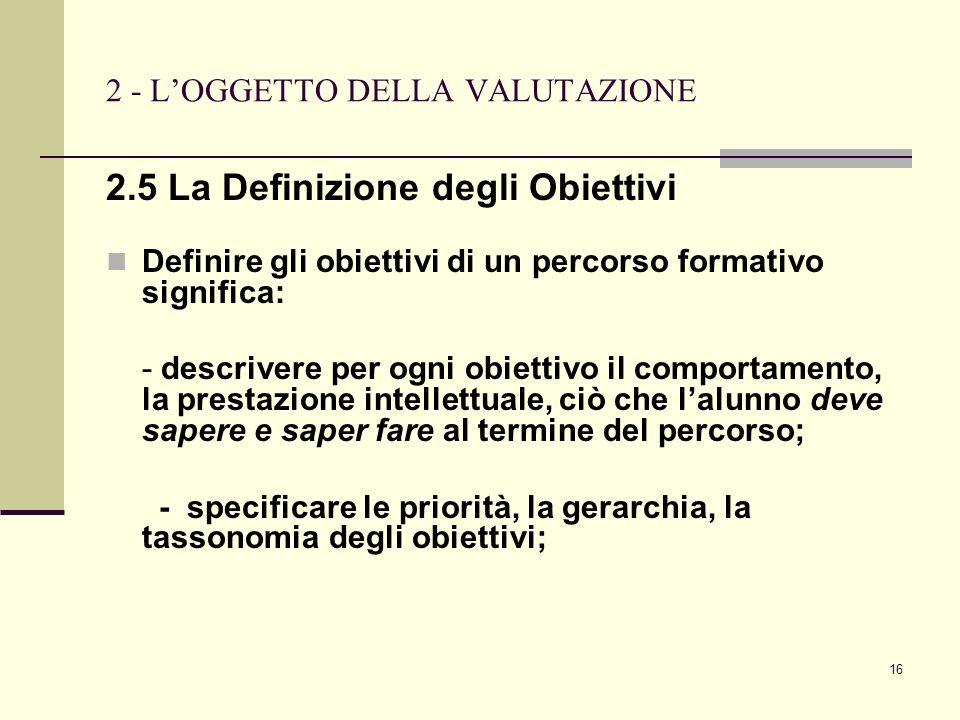 16 2 - LOGGETTO DELLA VALUTAZIONE 2.5 La Definizione degli Obiettivi Definire gli obiettivi di un percorso formativo significa: - descrivere per ogni