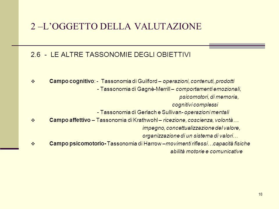 18 2 –LOGGETTO DELLA VALUTAZIONE 2.6 - LE ALTRE TASSONOMIE DEGLI OBIETTIVI Campo cognitivo: - Tassonomia di Guilford – operazioni, contenuti, prodotti