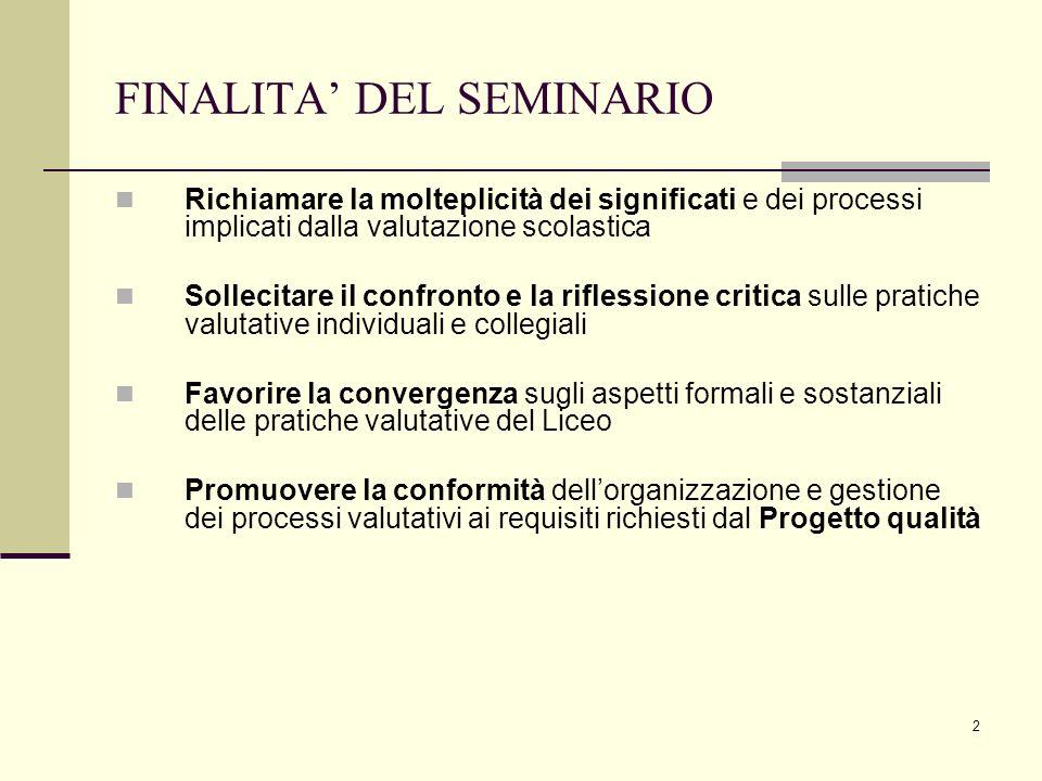 2 FINALITA DEL SEMINARIO Richiamare la molteplicità dei significati e dei processi implicati dalla valutazione scolastica Sollecitare il confronto e l