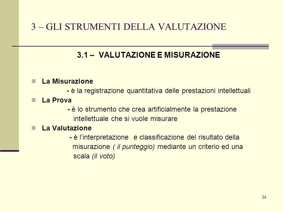 24 3 – GLI STRUMENTI DELLA VALUTAZIONE 3.1 – VALUTAZIONE E MISURAZIONE La Misurazione - è la registrazione quantitativa delle prestazioni intellettual