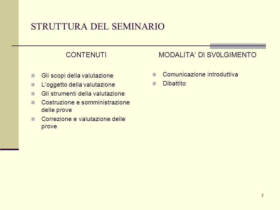 3 STRUTTURA DEL SEMINARIO CONTENUTI Gli scopi della valutazione Loggetto della valutazione Gli strumenti della valutazione Costruzione e somministrazi