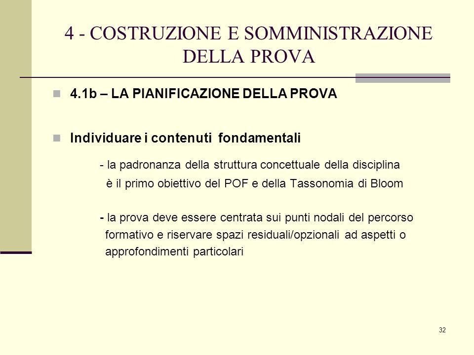 32 4 - COSTRUZIONE E SOMMINISTRAZIONE DELLA PROVA 4.1b – LA PIANIFICAZIONE DELLA PROVA Individuare i contenuti fondamentali - la padronanza della stru