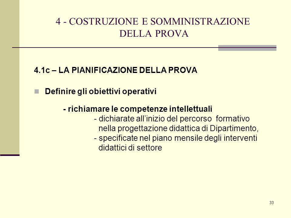 33 4 - COSTRUZIONE E SOMMINISTRAZIONE DELLA PROVA 4.1c – LA PIANIFICAZIONE DELLA PROVA Definire gli obiettivi operativi - richiamare le competenze int