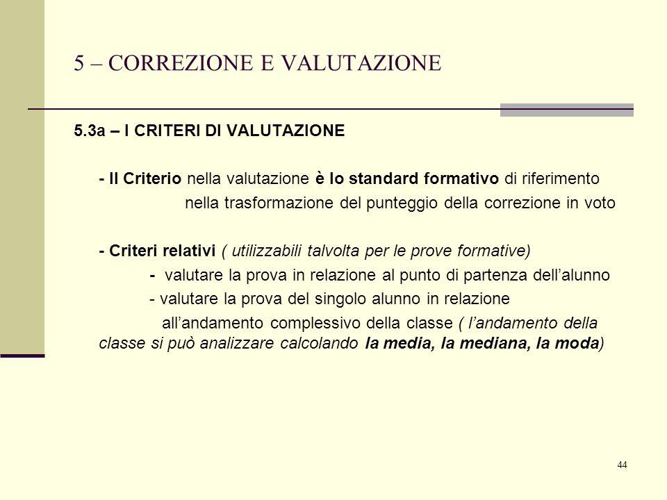 44 5 – CORREZIONE E VALUTAZIONE 5.3a – I CRITERI DI VALUTAZIONE - Il Criterio nella valutazione è lo standard formativo di riferimento nella trasforma