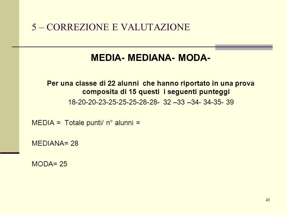45 5 – CORREZIONE E VALUTAZIONE MEDIA- MEDIANA- MODA- Per una classe di 22 alunni che hanno riportato in una prova composita di 15 questi i seguenti p