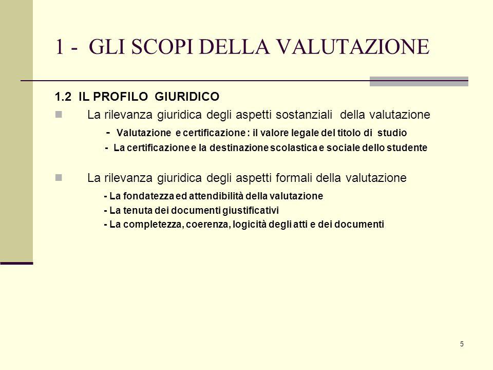 5 1 - GLI SCOPI DELLA VALUTAZIONE 1.2 IL PROFILO GIURIDICO La rilevanza giuridica degli aspetti sostanziali della valutazione - Valutazione e certific