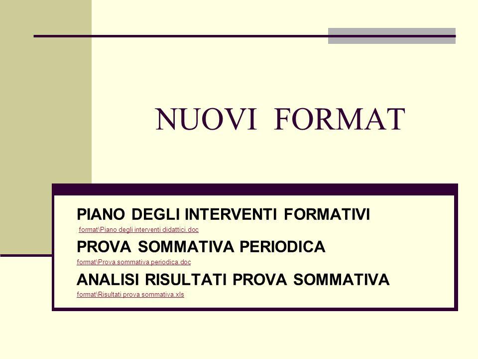 NUOVI FORMAT PIANO DEGLI INTERVENTI FORMATIVI format\Piano degli interventi didattici.doc PROVA SOMMATIVA PERIODICA format\Prova sommativa periodica.d