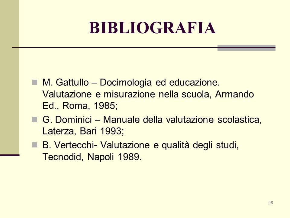 56 BIBLIOGRAFIA M. Gattullo – Docimologia ed educazione. Valutazione e misurazione nella scuola, Armando Ed., Roma, 1985; G. Dominici – Manuale della