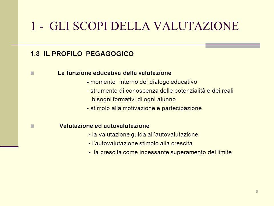 6 1 - GLI SCOPI DELLA VALUTAZIONE 1.3 IL PROFILO PEGAGOGICO La funzione educativa della valutazione - momento interno del dialogo educativo - strument