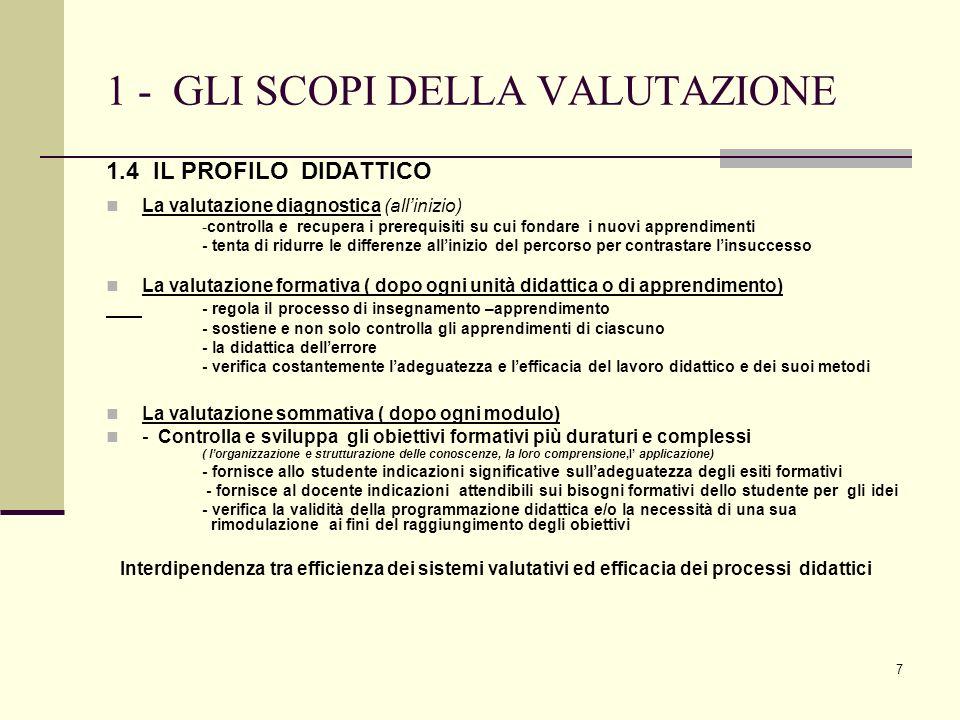7 1 - GLI SCOPI DELLA VALUTAZIONE 1.4 IL PROFILO DIDATTICO La valutazione diagnostica (allinizio) -controlla e recupera i prerequisiti su cui fondare