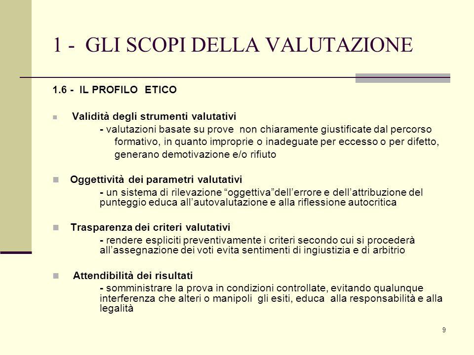 9 1 - GLI SCOPI DELLA VALUTAZIONE 1.6 - IL PROFILO ETICO Validità degli strumenti valutativi - valutazioni basate su prove non chiaramente giustificat