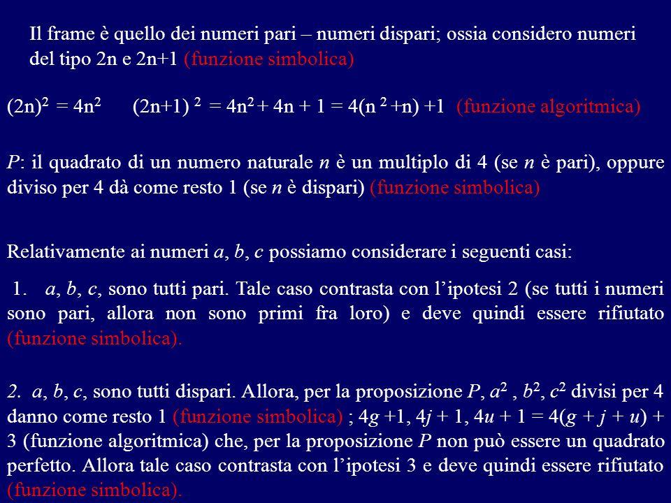 Il frame è quello dei numeri pari – numeri dispari; ossia considero numeri del tipo 2n e 2n+1 (funzione simbolica) (2n) 2 = 4n 2 (2n+1) 2 = 4n 2 + 4n