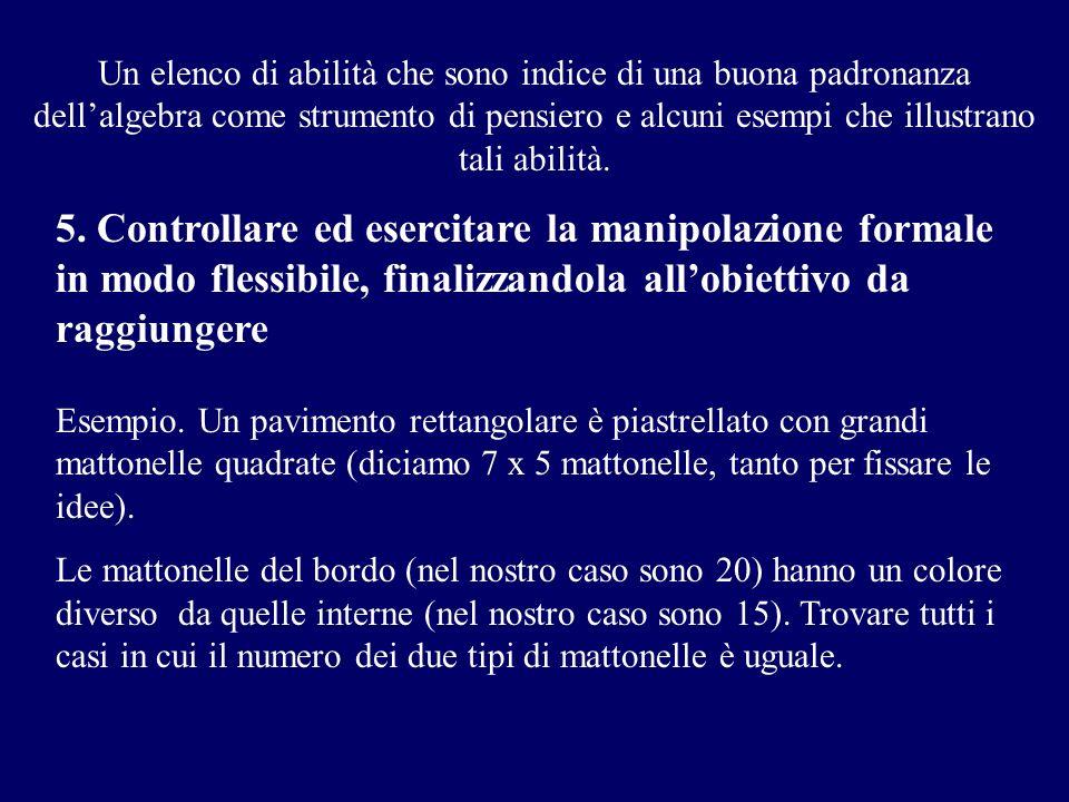 Un elenco di abilità che sono indice di una buona padronanza dellalgebra come strumento di pensiero e alcuni esempi che illustrano tali abilità. 5. Co