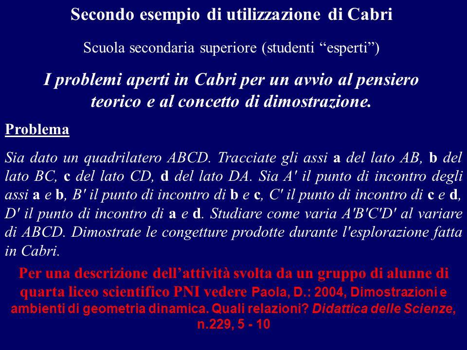 Secondo esempio di utilizzazione di Cabri Scuola secondaria superiore (studenti esperti) I problemi aperti in Cabri per un avvio al pensiero teorico e