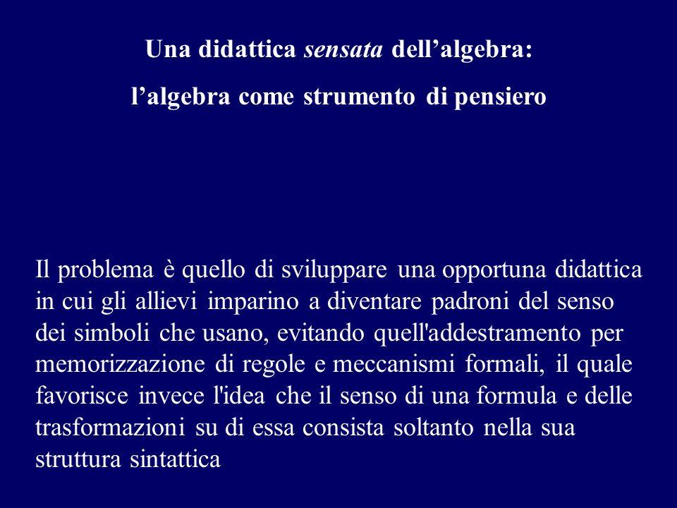 Una didattica sensata dellalgebra: lalgebra come strumento di pensiero Il problema è quello di sviluppare una opportuna didattica in cui gli allievi i