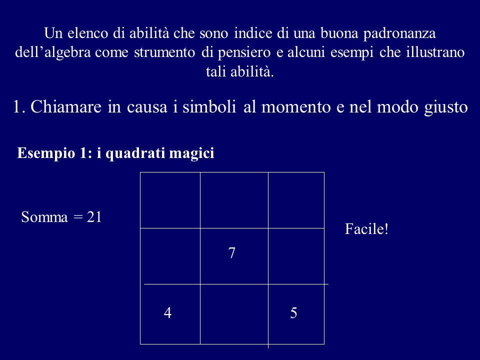 Un elenco di abilità che sono indice di una buona padronanza dellalgebra come strumento di pensiero e alcuni esempi che illustrano tali abilità. 1. Ch
