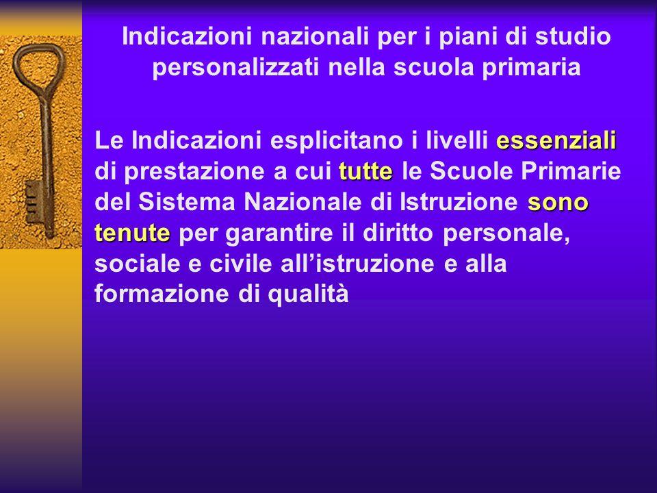 Indicazioni nazionali per i piani di studio personalizzati nella scuola primaria essenziali tutte sono tenute Le Indicazioni esplicitano i livelli ess
