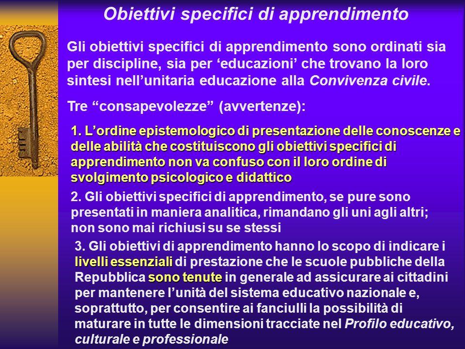 Obiettivi specifici di apprendimento Gli obiettivi specifici di apprendimento sono ordinati sia per discipline, sia per educazioni che trovano la loro