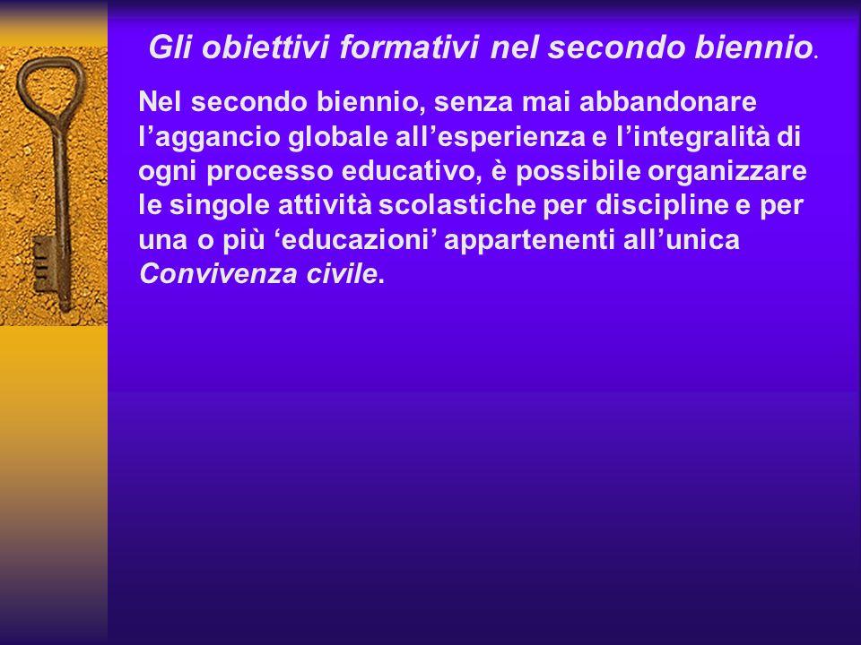 Gli obiettivi formativi nel secondo biennio. Nel secondo biennio, senza mai abbandonare laggancio globale allesperienza e lintegralità di ogni process