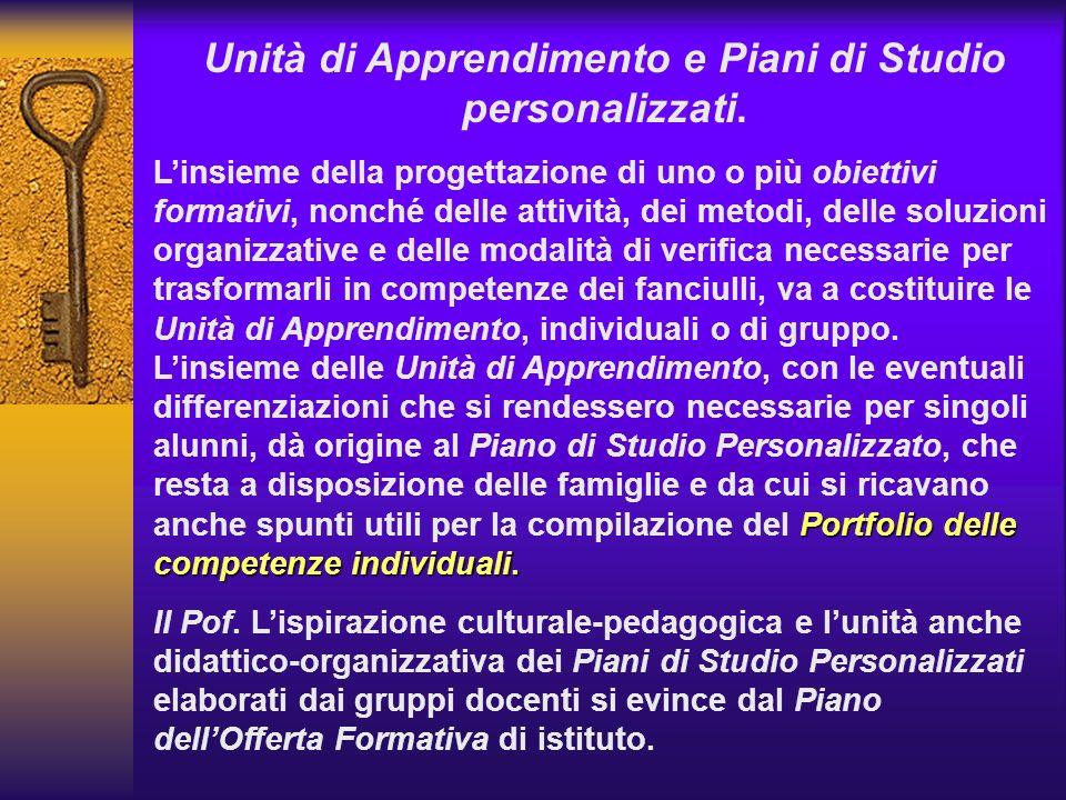 Unità di Apprendimento e Piani di Studio personalizzati. Portfolio delle competenze individuali. Linsieme della progettazione di uno o più obiettivi f