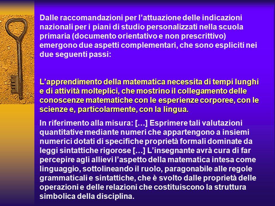 Dalle raccomandazioni per lattuazione delle indicazioni nazionali per i piani di studio personalizzati nella scuola primaria (documento orientativo e