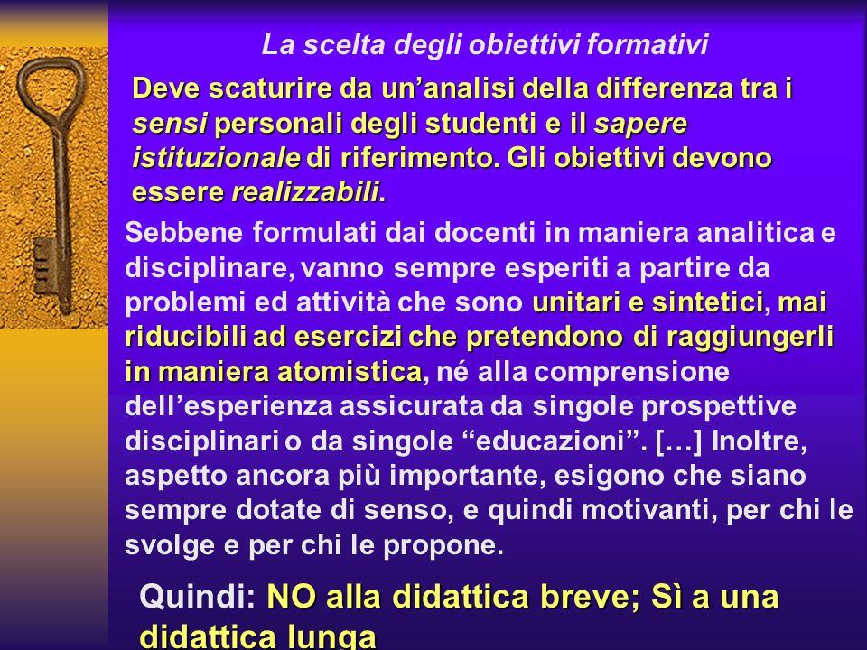 La scelta degli obiettivi formativi Deve scaturire da unanalisi della differenza tra i sensi personali degli studenti e il sapere istituzionale di rif