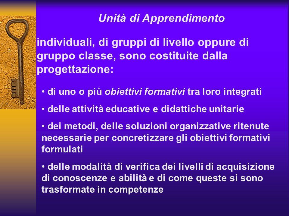 Unità di Apprendimento individuali, di gruppi di livello oppure di gruppo classe, sono costituite dalla progettazione: di uno o più obiettivi formativ