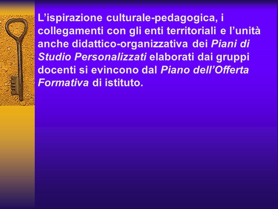 Lispirazione culturale-pedagogica, i collegamenti con gli enti territoriali e lunità anche didattico-organizzativa dei Piani di Studio Personalizzati