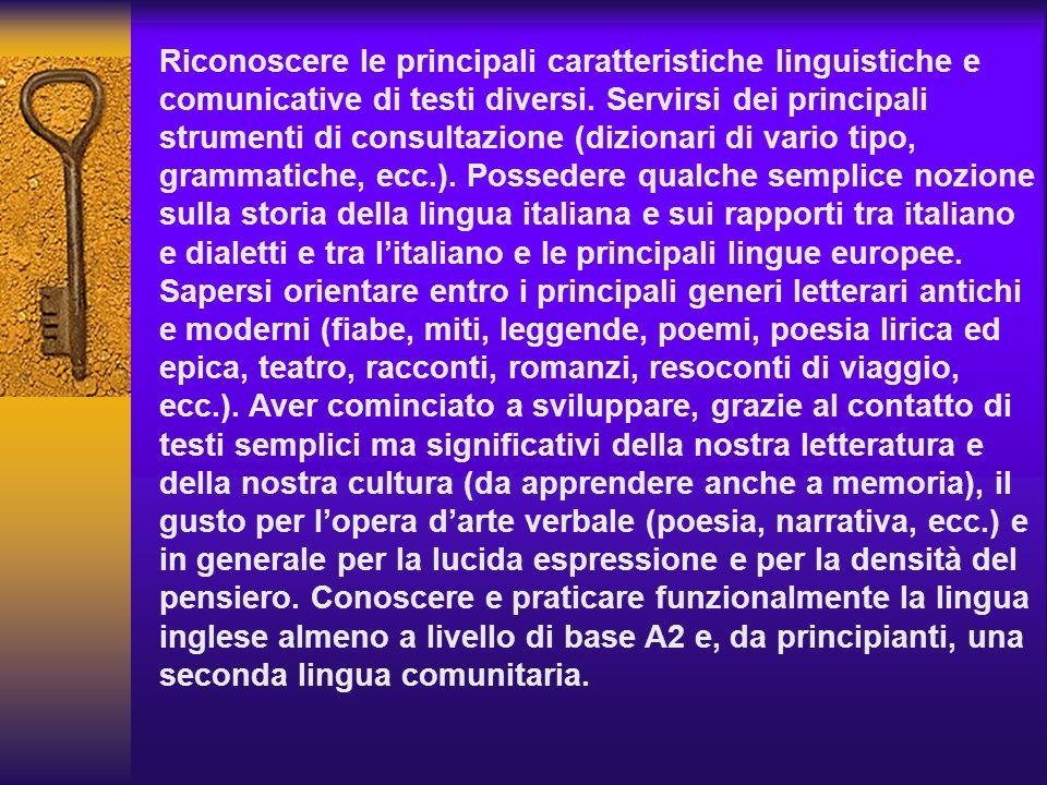 Riconoscere le principali caratteristiche linguistiche e comunicative di testi diversi. Servirsi dei principali strumenti di consultazione (dizionari