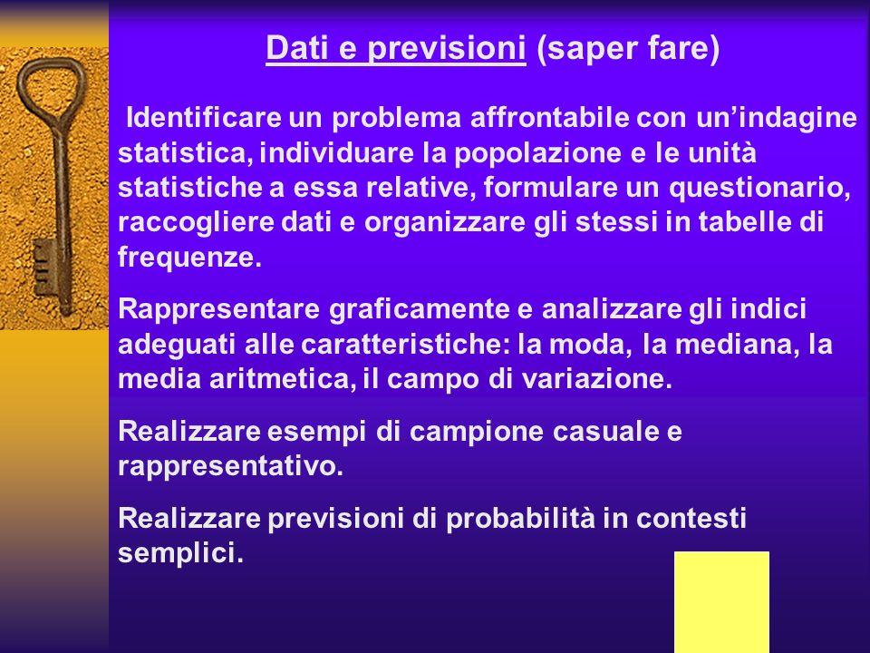 Dati e previsioni (saper fare) Identificare un problema affrontabile con unindagine statistica, individuare la popolazione e le unità statistiche a es