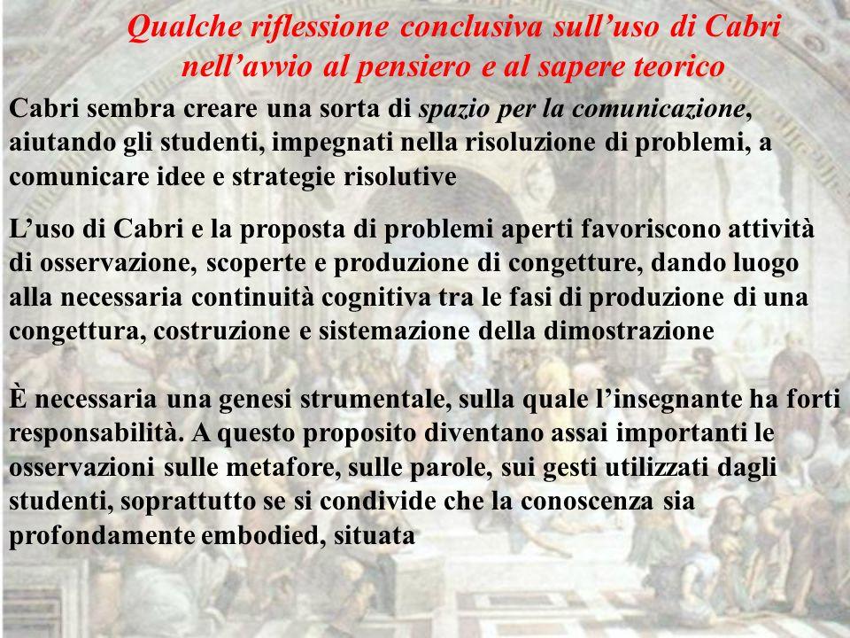 Qualche riflessione conclusiva sulluso di Cabri nellavvio al pensiero e al sapere teorico Cabri sembra creare una sorta di spazio per la comunicazione